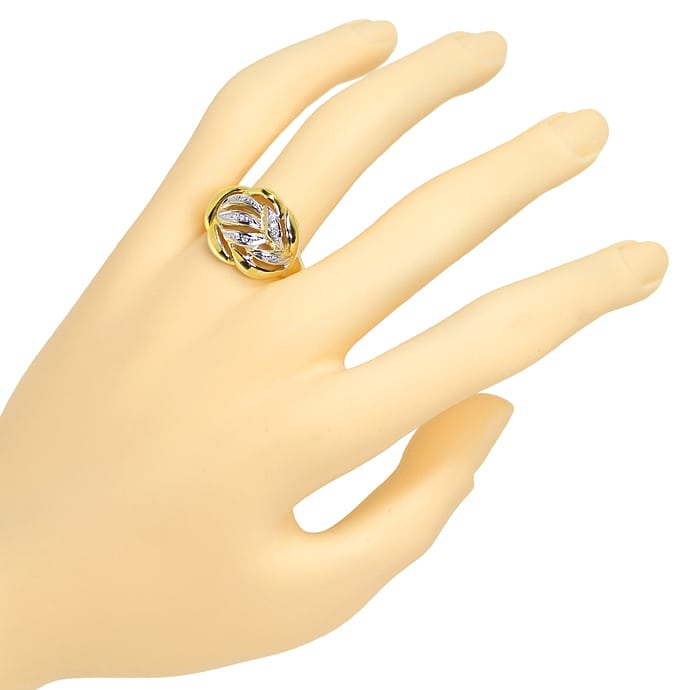 Foto 4, Dekorativer Diamanten Ring mit 8 Brillanten in 14K Gold, R8968