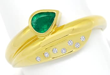 Foto 1, Gold Ring Top Smaragd Tropfen plus lupenreine Diamanten, R8976