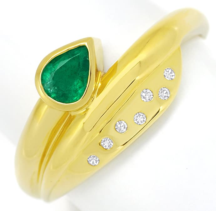 Foto 2, Gold Ring Top Smaragd Tropfen plus lupenreine Diamanten, R8976