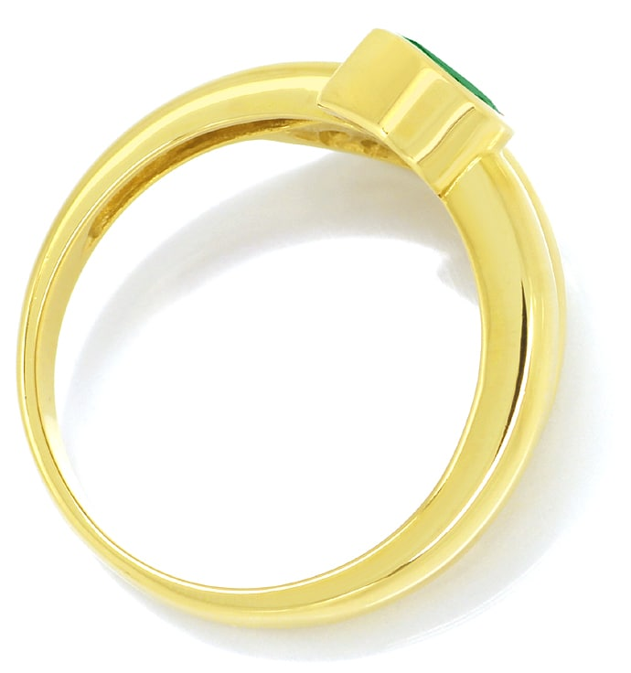Foto 3, Gold Ring Top Smaragd Tropfen plus lupenreine Diamanten, R8976