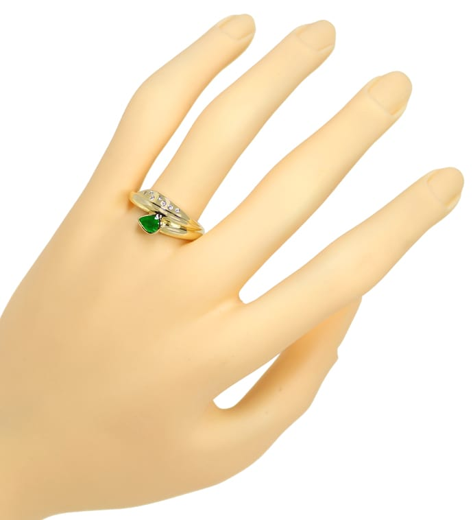Foto 4, Gold Ring Top Smaragd Tropfen plus lupenreine Diamanten, R8976