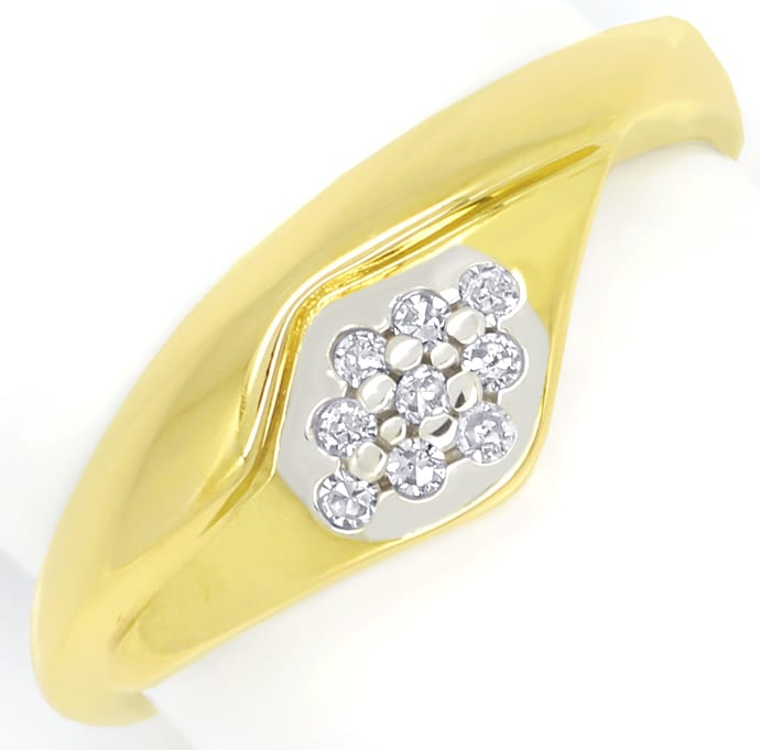 Foto 2, Attraktiver Diamantring mit 9 Diamanten in 14K Gelbgold, R8977