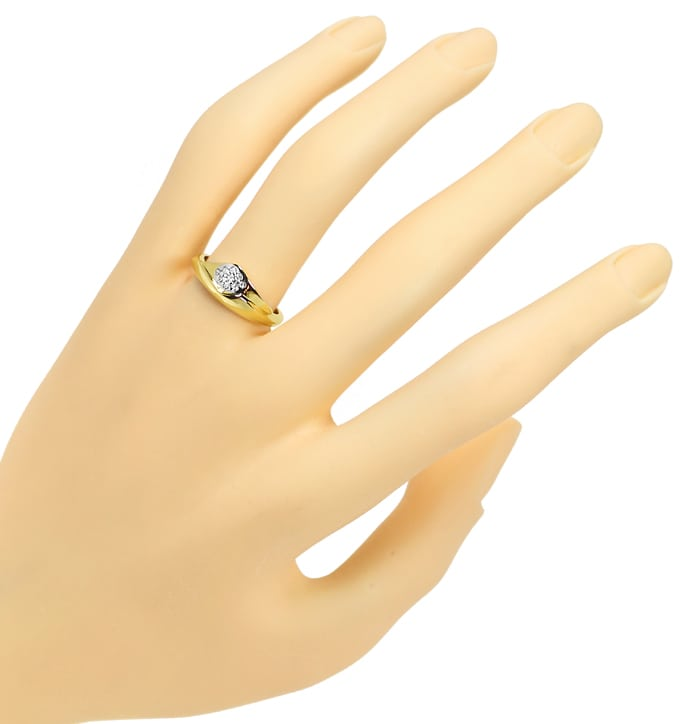 Foto 4, Attraktiver Diamantring mit 9 Diamanten in 14K Gelbgold, R8977