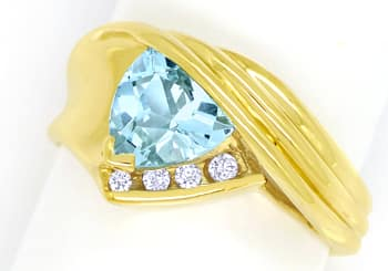 Foto 1, Blauer Topas Trillion Schliff in Diamantenring 14K Gold, R8978