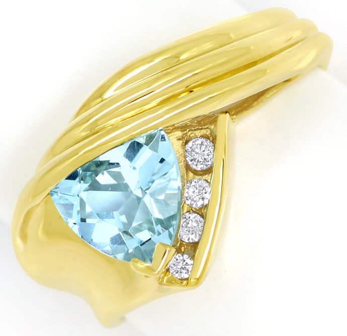 Foto 2, Blauer Topas Trillion Schliff in Diamantenring 14K Gold, R8978
