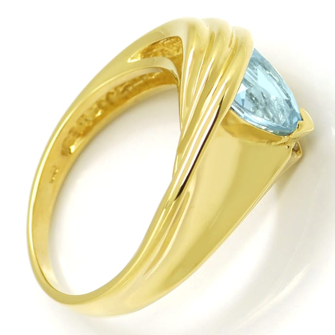 Foto 3, Blauer Topas Trillion Schliff in Diamantenring 14K Gold, R8978