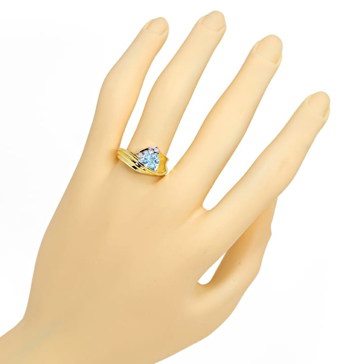Foto 4, Blauer Topas Trillion Schliff in Diamantenring 14K Gold, R8978