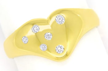 Foto 1 - Diamantring Herzform mit 0,11ct River Brillanten in 14K, R8981