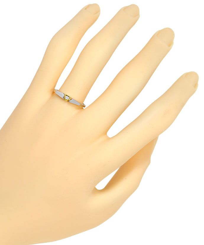 Foto 4, Design Diamantring 0,03 Brillant lupenrein, Platin Gold, R9022