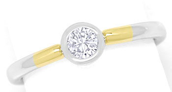 Foto 1, Diamantring 0,24ct Brilliant lupenrein 14K Bicolor Gold, R9064