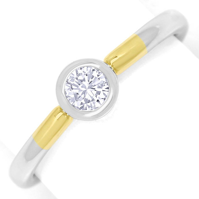 Foto 2, Diamantring 0,24ct Brilliant lupenrein 14K Bicolor Gold, R9064