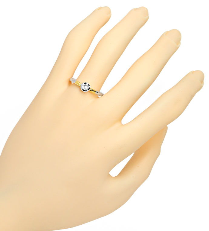 Foto 4, Diamantring 0,24ct Brilliant lupenrein 14K Bicolor Gold, R9064
