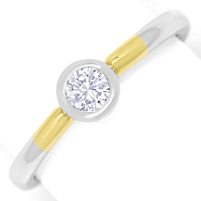 Diamantring 0,24ct Brilliant lupenrein 14K Bicolor Gold, Designer Ring
