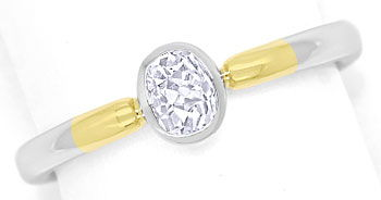 Foto 1, Ovaler Diamant 0,39ct tolles Feuer in Bicolor Gold Ring, R9065