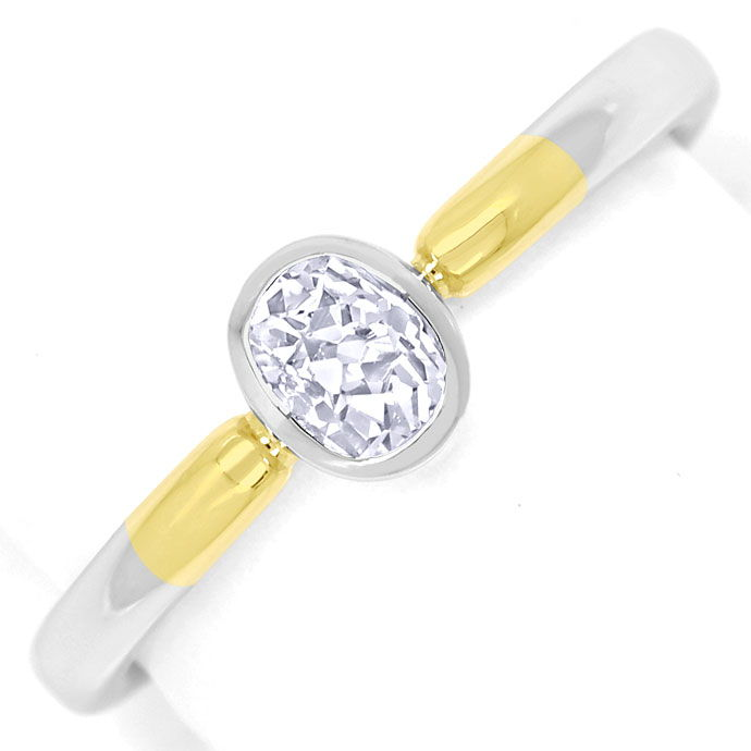 Foto 2, Ovaler Diamant 0,39ct tolles Feuer in Bicolor Gold Ring, R9065