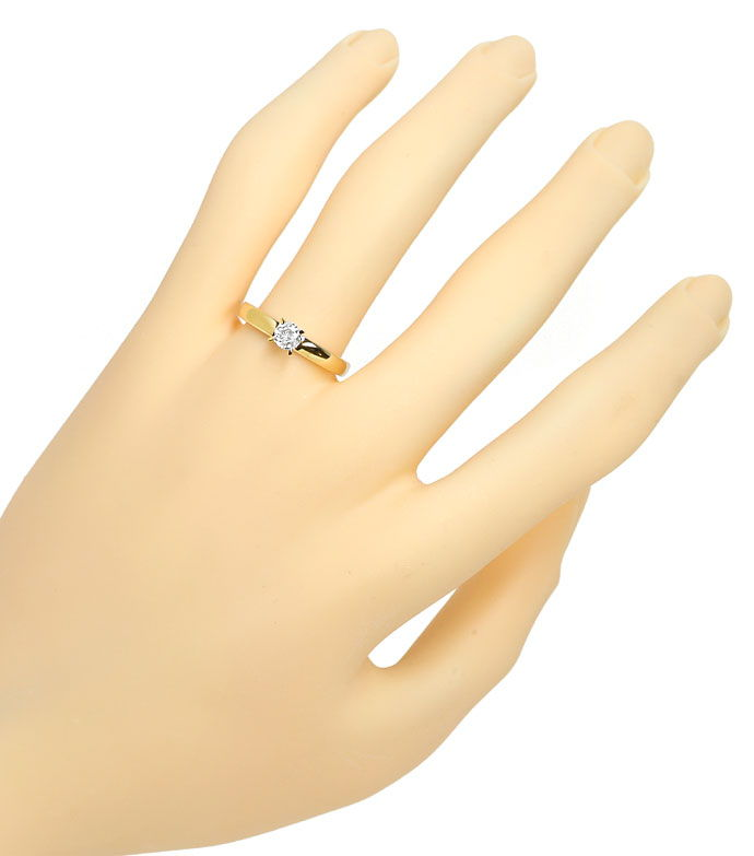 Foto 4, Diamantring mit 0,23ct Brillant Solitär in 14K Gelbgold, R9067