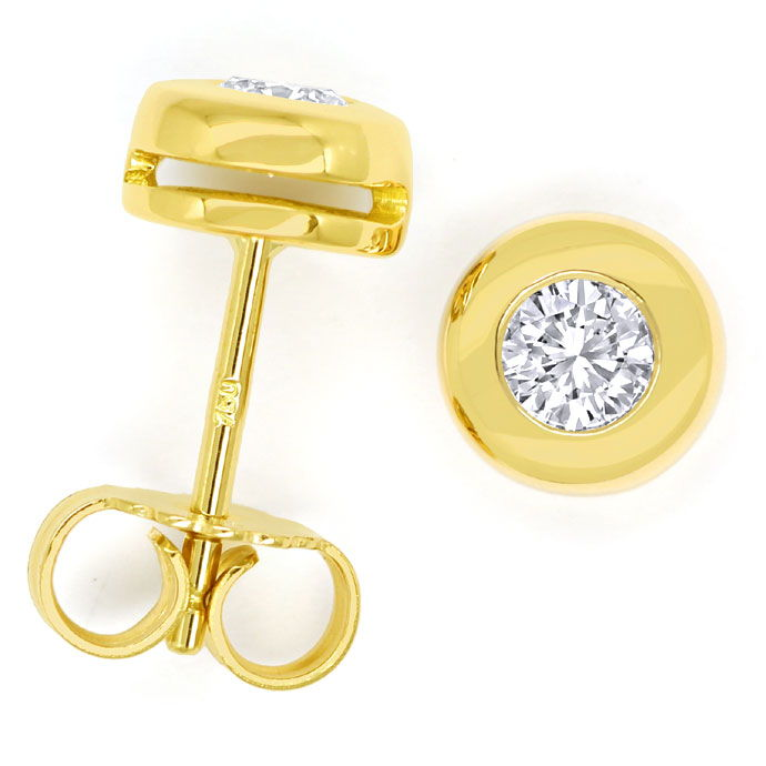 Foto 1 - Diamantenohrstecker mit 0,40 Brillanten in 18K Gelbgold, R9070
