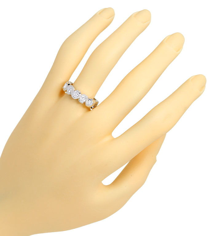 Foto 4, Halbmemory Allianz Ring mit 0,93ct Brillanten Weissgold, R9289