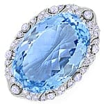 Riesiges Aquamarin Diamanten Collier oder Brosche antik