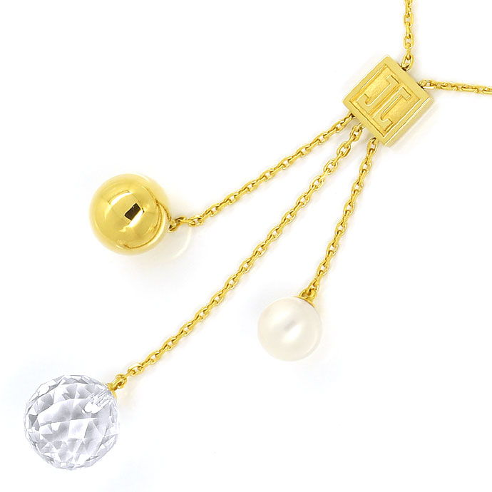 jette joop gold perl kollier goldkugel bergkristalkugel r9534. Black Bedroom Furniture Sets. Home Design Ideas