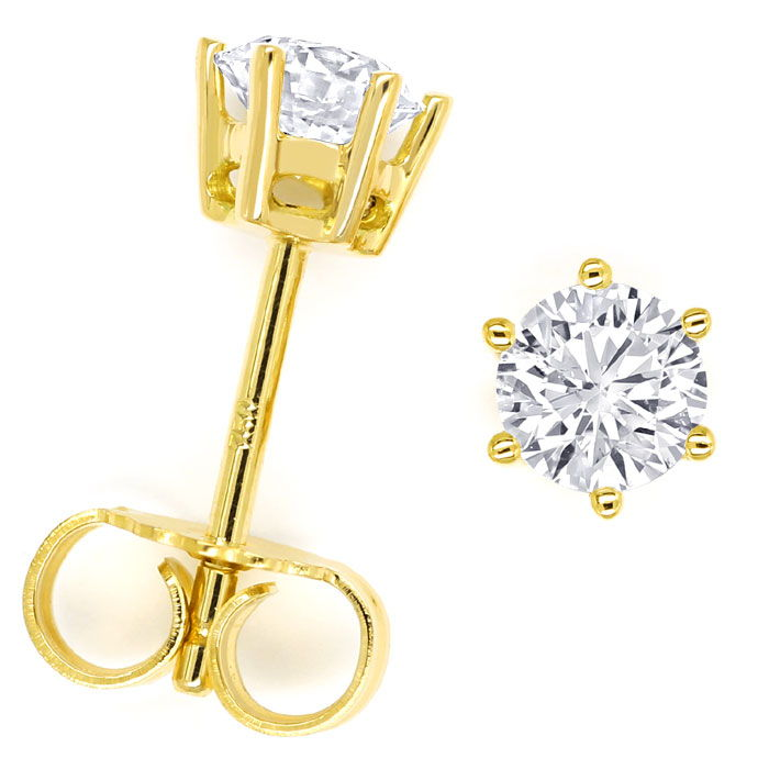 Foto 1, Krappen Diamantohrstecker mit 0,72ct Brillanten in Gold, R9553