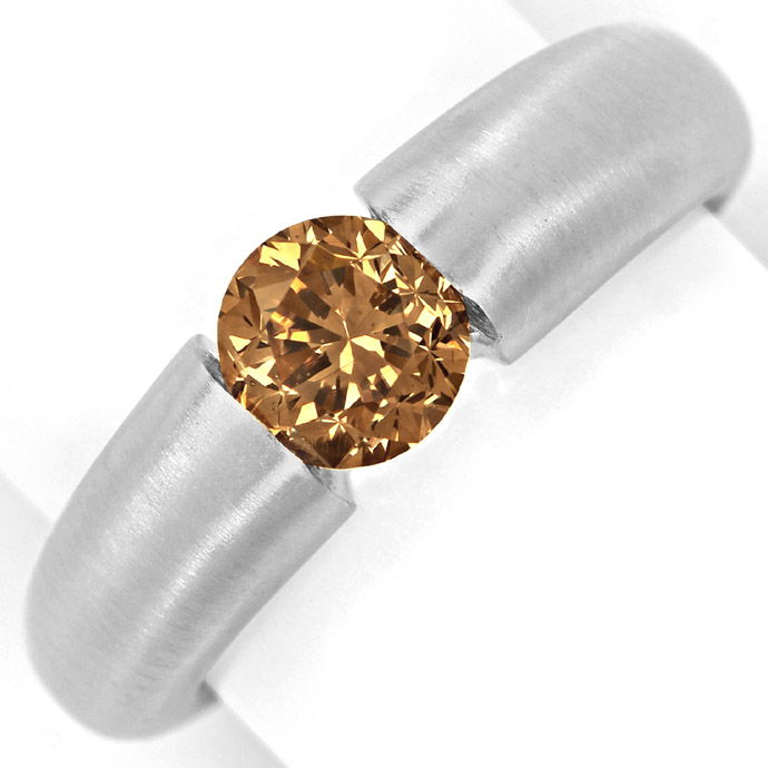 Weissgold Spannring mit 1,09ct Brillant Fancy Brown IGI, Designer Ring