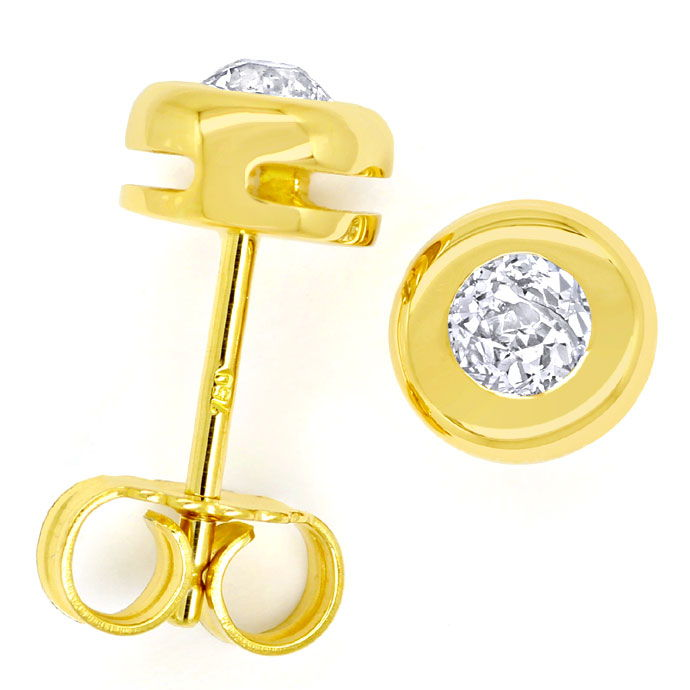 Foto 1 - Diamant Ohrstecker mit 0,46ct Diamanten in Gelbgold 18K, R9707