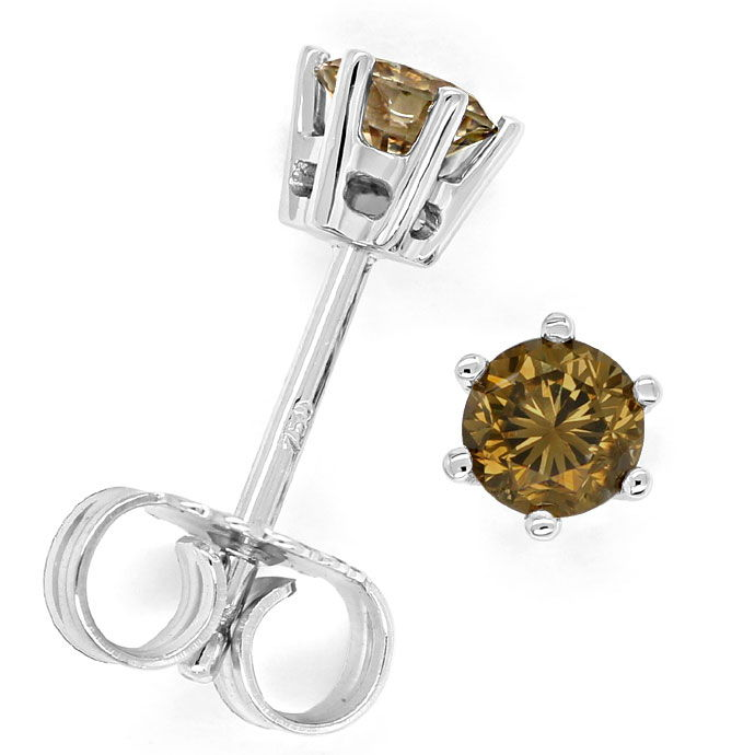 Foto 1 - Diamantohrstecker 0,52ct goldbraune Brillanten Weißgold, R9710