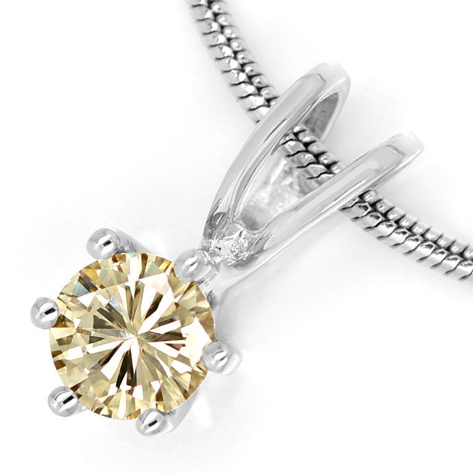 Foto 2 - Feines Kollier mit 0,23ct Brilliant in hellem Goldbraun, R9745