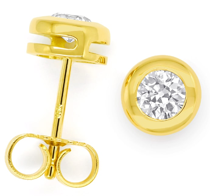 Foto 1 - Diamanten Zargen Ohrringe mit 0,54ct Diamanten Gelbgold, R9776