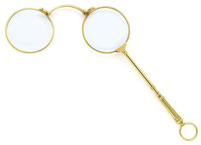 Foto 1, Massiv goldene antike Stilbrille Longion Lorgnon in 18K, R9780
