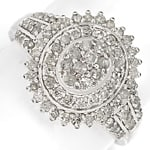 Ring mit 1,07ct River Diamanten in Silber, 925 Sterling
