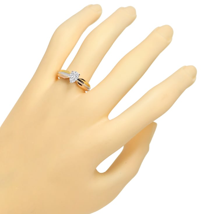 Foto 5, Cartier Diamantring Tricolor mit 0,68ct Tropfen Diamant, R9924