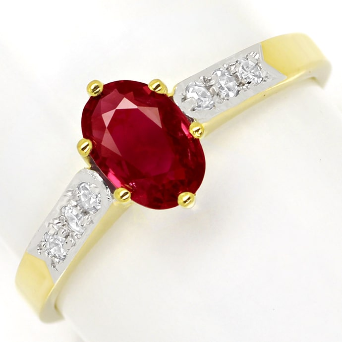Diamantenring, Top 0,6ct ovaler Rubin in 585er Gelbgold, Edelstein Farbstein Ring