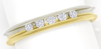 Foto 1 - Diamantring Halbmemoryring mit 0,13ct Brillanten in 14K, R9953