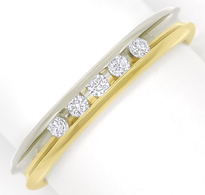 Foto 2 - Diamantring Halbmemoryring mit 0,13ct Brillanten in 14K, R9953