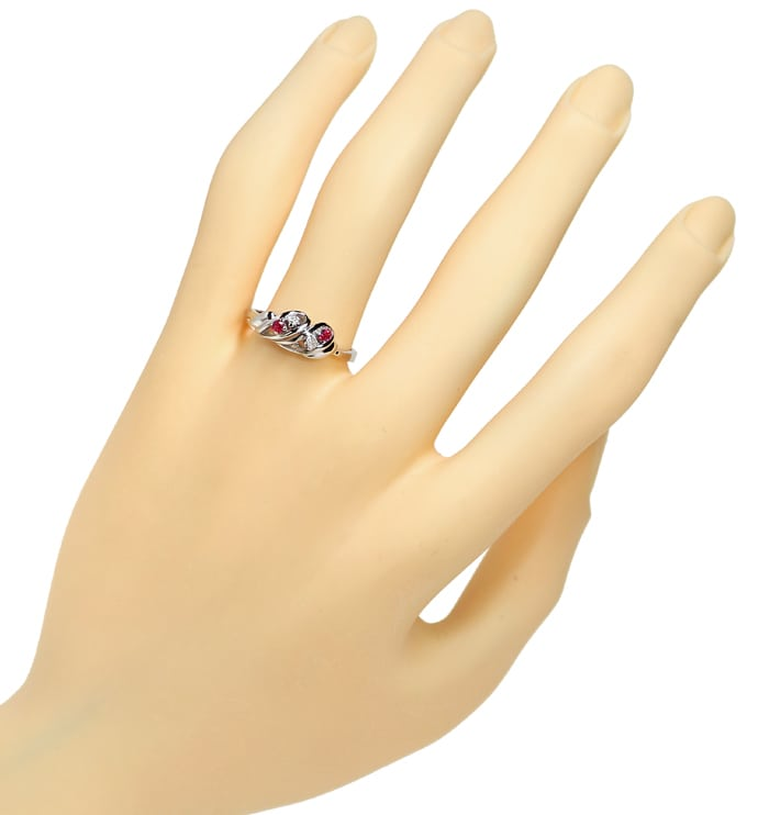 Foto 4 - Diamantring 0,15ct Rubine und Diamanten in 14K Weißgold, R9982