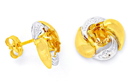 Foto 1 - Paar Ohrringe, 1ct Top Citrine! 14 Karat Gelb Gold Neu!, S0089