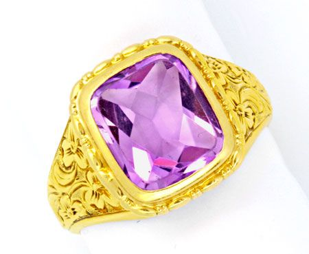 Foto 1, Top Amethyst Ring, 6,0ct! Florale Tiefe Relief Gravuren, S0107