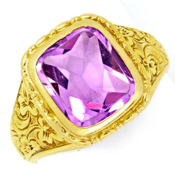 Top Amethyst Ring, 6,0ct! Florale Tiefe Relief Gravuren, Edelstein Farbstein Ring