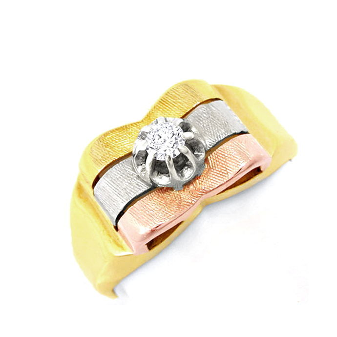 Schmuck Brillant Ring River! Tricolor! 14K! Handarbeit!, Designer Ring