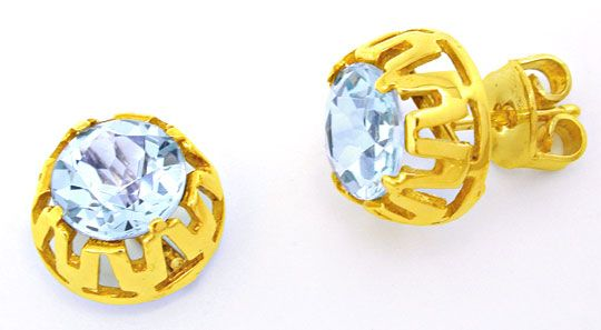 Foto 1, Schmuck Gold-Ohrringe, Absolute Spitzen-Aquamarine! 14K, S0670