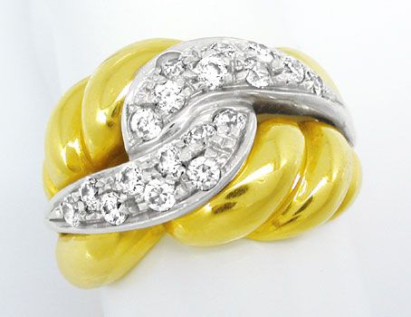 Foto 1, Massiver Bicolor Ring, dekoratives Design, 18Karat/750!, S0819
