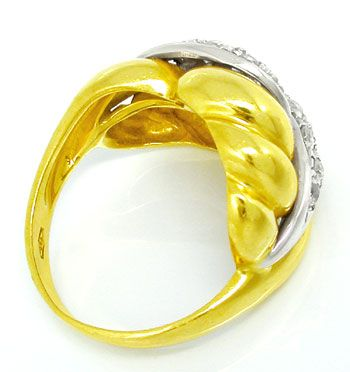 Foto 2, Massiver Bicolor Ring, dekoratives Design, 18Karat/750!, S0819