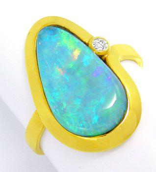 Foto 1, Gelbgold-Ring, Boulder-Opal! Brillant in River! 14Karat, S0904