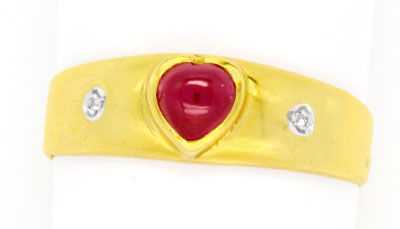 Foto 1, Gold-Ring, Rubin in Herz-Form! Diamanten! 14Karat/585!!, S0951