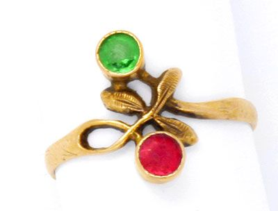 Goldring mit rotem stein  Antiker Gold-Ring, Handgravuren! Roter und Grüner Stein, S0993