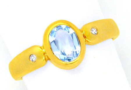 Foto 1, Super Gold-Ring, Spitzen-Topas! Diamanten! River! Neuw., S0994