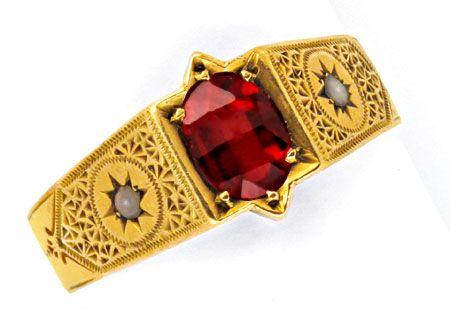 antik granat gelbgold ring orientperle handgravuren