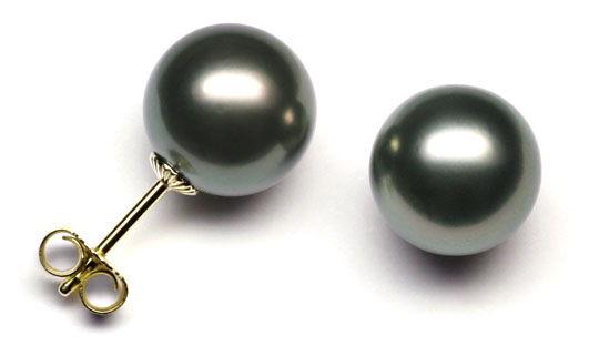 perlen ohrstecker schwarz